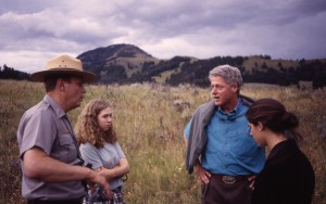 President Clinton and Finley in the Lamar Valley